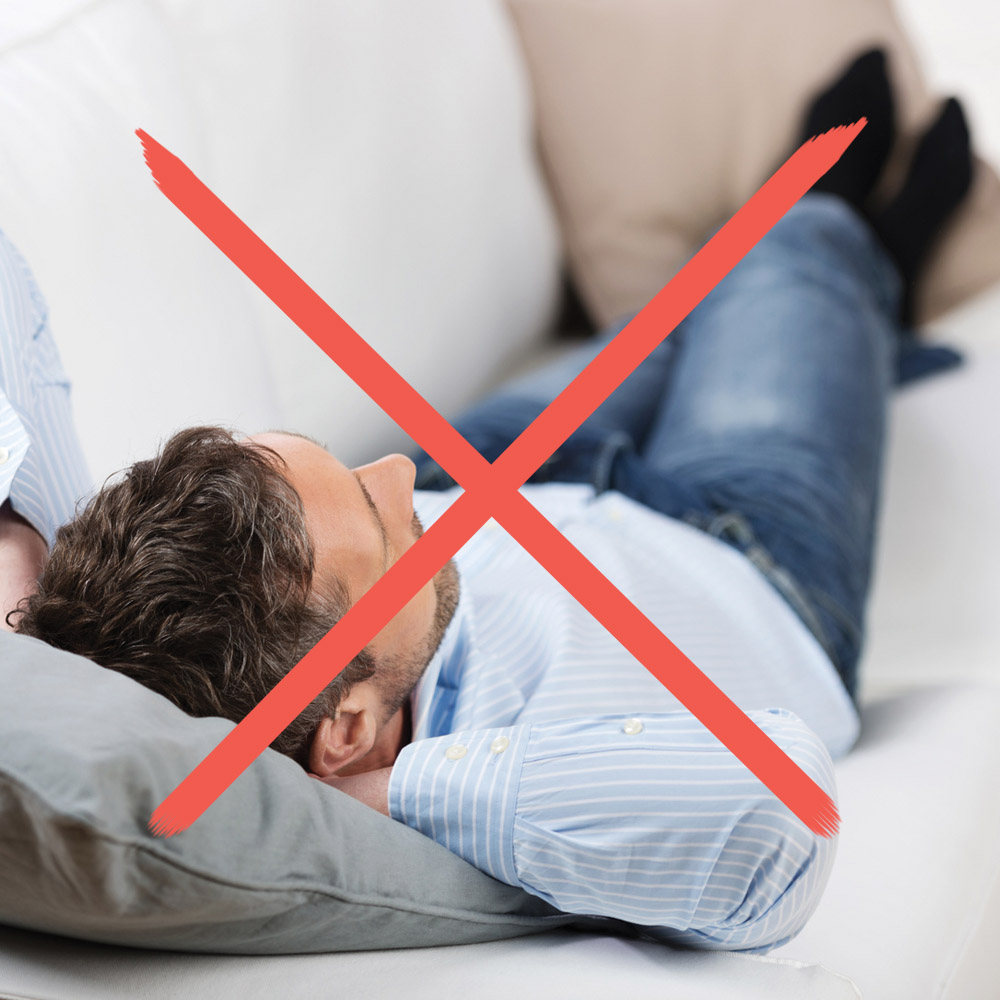 zakaz leżenia na plecach